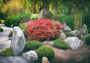 Japanese Rock Garden with Bamboo