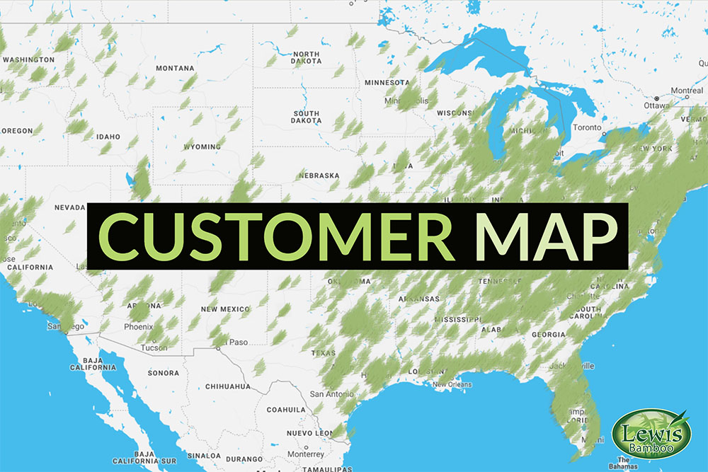 Map of Lewis Bamboo Customers by Zip Code